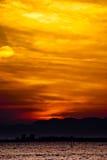 Puesta del sol en la ciudad Enoshima, Japón imagen de archivo libre de regalías