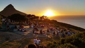 Puesta del sol en la colina Cape Town de la señal Imagen de archivo