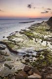 Puesta del sol en la costa de Tarifa Imágenes de archivo libres de regalías