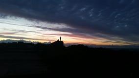 Puesta del sol en la costa del norte de Norfolk Foto de archivo