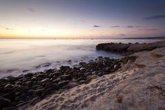 Puesta del sol en la ensenada de La Jolla Fotos de archivo libres de regalías