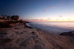 Puesta del sol en la ensenada de La Jolla Foto de archivo libre de regalías