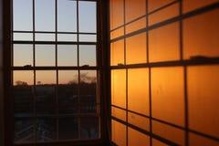 Puesta del sol en la escuela Fotografía de archivo libre de regalías