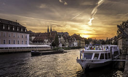 Puesta del sol en la est Kranen en Bamberg Foto de archivo libre de regalías