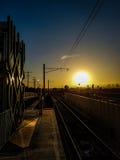 Puesta del sol en la estación Fotos de archivo