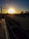 Puesta del sol en la estación Foto de archivo