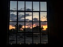 Puesta del sol en la granja Imagen de archivo