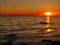 Puesta del sol en la isla de Bornholm Fotos de archivo libres de regalías