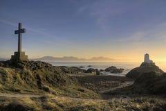Puesta del sol en la isla de Llanddwyn Imagen de archivo