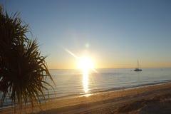 Puesta del sol en la isla de Moreton Fotografía de archivo