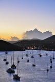 Puesta del sol en la isla de St Thomas Fotos de archivo