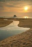 Puesta del sol en la isla de Tioman, Malasia Imagen de archivo libre de regalías