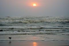 Puesta del sol en la isla del sur de Padre, Tejas Foto de archivo