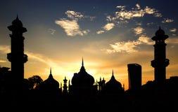 Puesta del sol en la mezquita de Jamek Fotografía de archivo libre de regalías