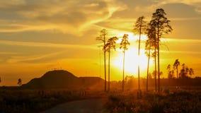 Puesta del sol en la montaña Imágenes de archivo libres de regalías