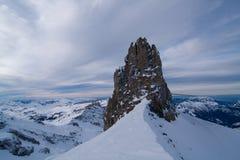 Puesta del sol en la montaña de Titlis Fotografía de archivo