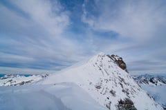 Puesta del sol en la montaña de Titlis Imagen de archivo