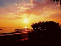Puesta del sol en la playa, arbusto, cielo Fotografía de archivo libre de regalías