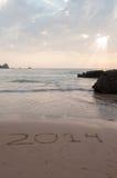 Puesta del sol en la playa de Algarve Castelejo, Portugal Fotos de archivo