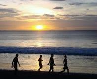 Puesta del sol en la playa de Brasilito en Costa Rica Foto de archivo libre de regalías