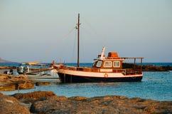 Puesta del sol en la playa de Elafonisi Fotos de archivo libres de regalías