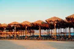 Puesta del sol en la playa de Elafonisi Imagen de archivo