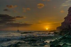 Puesta del sol en la playa de Fuerteventura Fotografía de archivo