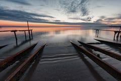 Puesta del sol en la playa de Ravda, Bulgaria Fotos de archivo