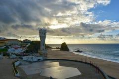 Puesta del sol en la playa de Santa Cruz - Portugal Foto de archivo libre de regalías