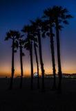 Puesta del sol en la playa de Santa Mónica Fotos de archivo libres de regalías