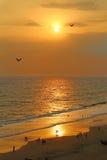 Puesta del sol en la playa de Varkala La India del sur Foto de archivo