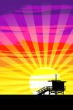 Puesta del sol en la playa de Venecia, Los Ángeles, California Vector Eps10 Foto de archivo