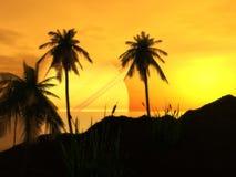 Puesta del sol en la playa del argón ilustración del vector