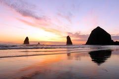 Puesta del sol en la playa del cañón Fotografía de archivo libre de regalías