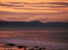 Puesta del sol en la playa en la costa este del norte de Escocia 12 Fotografía de archivo libre de regalías