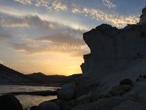 Puesta del sol en la playa fosilizada de la duna fotos de archivo libres de regalías