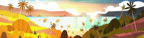 Puesta del sol en la playa hermosa del verano del paisaje de la playa tropical con la bandera horizontal de las palmeras Fotos de archivo