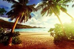 Puesta del sol en la playa, isla de Mahe, Seychelles fotos de archivo