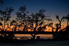 Puesta del sol en la playa del norte en la Florida Imagen de archivo