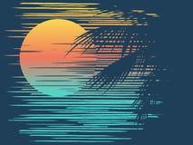 Puesta del sol en la playa tropical ilustración del vector