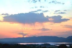 Puesta del sol en la presa Imágenes de archivo libres de regalías