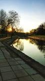 Puesta del sol en la primavera fotos de archivo