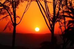 Puesta del sol en la región de la pampa Imágenes de archivo libres de regalías
