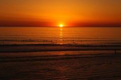 Puesta del sol en Lacanau Imagen de archivo libre de regalías