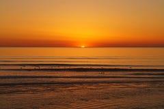 Puesta del sol en Lacanau Foto de archivo