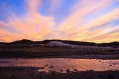 Puesta del sol en Lago Strobel Imagen de archivo libre de regalías