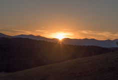 Puesta del sol en las colinas apalaches Foto de archivo