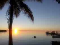 Puesta del sol en las llaves de la Florida con la palmera y el muelle Imagenes de archivo