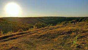 Puesta del sol en las montañas de Ucrania imagen de archivo