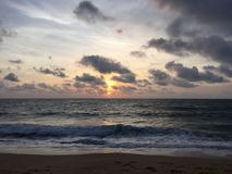 Puesta del sol en las playas imagen de archivo libre de regalías
